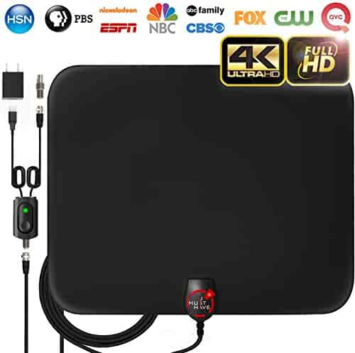 [2019 Latest] Amplified HD Digital TV Antenna Long 65-80 Miles Range – Support 4K 1080p & All Older TV's Indoor Powerful HDTV Amplifier Signal Booster - 18ft Coax Cable/USB Power Adapter