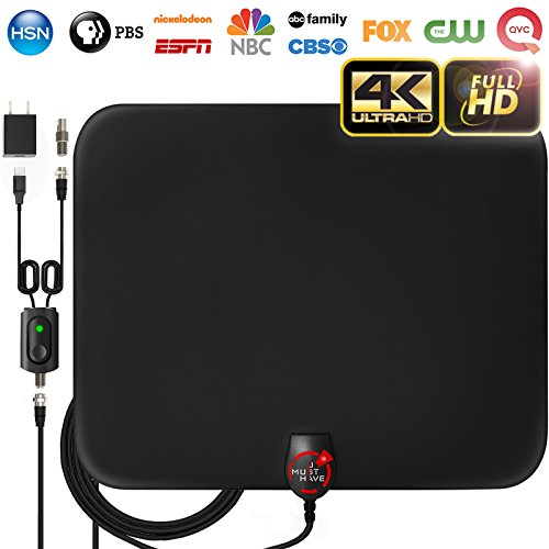 [2019 Latest] Amplified HD Digital TV Antenna Long 65-80 Miles Range  Support 4K 1080p & All Older TV's Indoor Powerful HDTV Amplifier Signal Booster - 18ft Coax Cable/USB Power Adapter