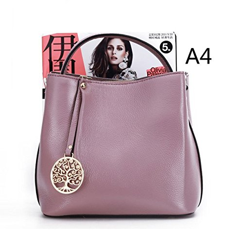 Genuine Celebrity Hobo Top Handle Light amp;Sue Mn Cowhide Leather Shoulder Purple Satchel Women Bucket Bag Handbag gptxqwSx