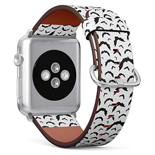 Compatible with Apple Watch (Small 38mm/40mm) Series 1,2,3,4 - Leather Band Bracelet Strap Wristband Replacement - Hallowen Flying Bats]()