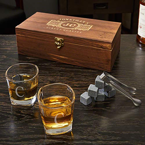 Marquee Custom Whiskey Stones and 6 Oz Shot Glass Gift Box (Customizable Product) ()