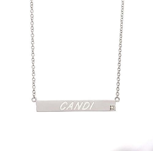 Hecho A Mano Personalizado Grabado Plata Esterlina 925 Rectangular Bar /& collar.