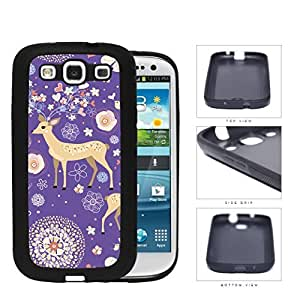 Reindeer With Flower And Heart Horns Purple Rubber Silicone TPU Cell Phone Case Samsung Galaxy S3 SIII I9300