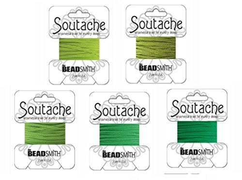 Beadsmith Soutache Braided Rayon Cord / Trim 3mm Wide - 5-color Combo -