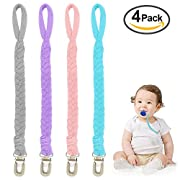 Pacifier Clips, Pack of 4 Teething Ring Holder for Babies, Soft Flexible Holder Leash for Pacifiers, Hand-Made Braided Baby Teething Soothie Band for Girls& Boys(Grey/Purple/Pink/Teal)
