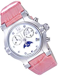 Women's Beauty Swiss Chronograph Moon Phase Leather Strap Pink