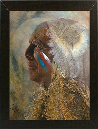 Frame USA Wicasa Wakan (the Holy Man) Framed Print 42.5''x31.5'' by Denton Lund, 42.5x31.5, Affordable Brazilian Walnut Medium by Frame USA