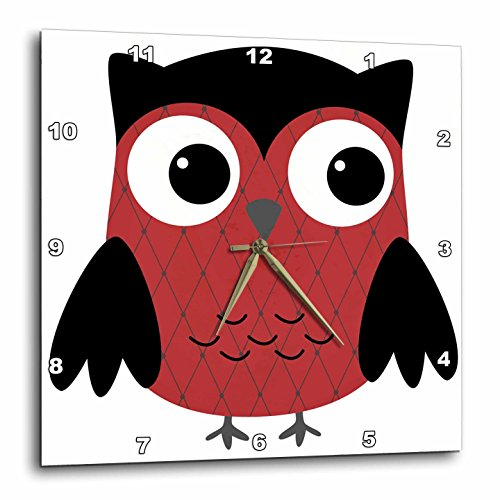 3dRose dpp_61028_1 Cute Ruby Red Diamond Patterned Owl Wall Clock, 10 by ()