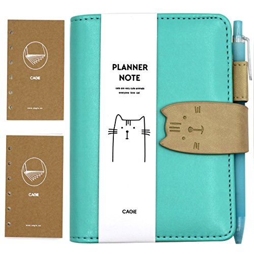 Aimeio A7 Size PU Leather Cute Cat Spiral Notebook Loose-Leaf Notepad 6 Ring Planner Pockets Scheduler Memo Travel Diary School Casual Sketchbook, Include 2 Refills and 1 Writing Pen, Gift Box (Blue)