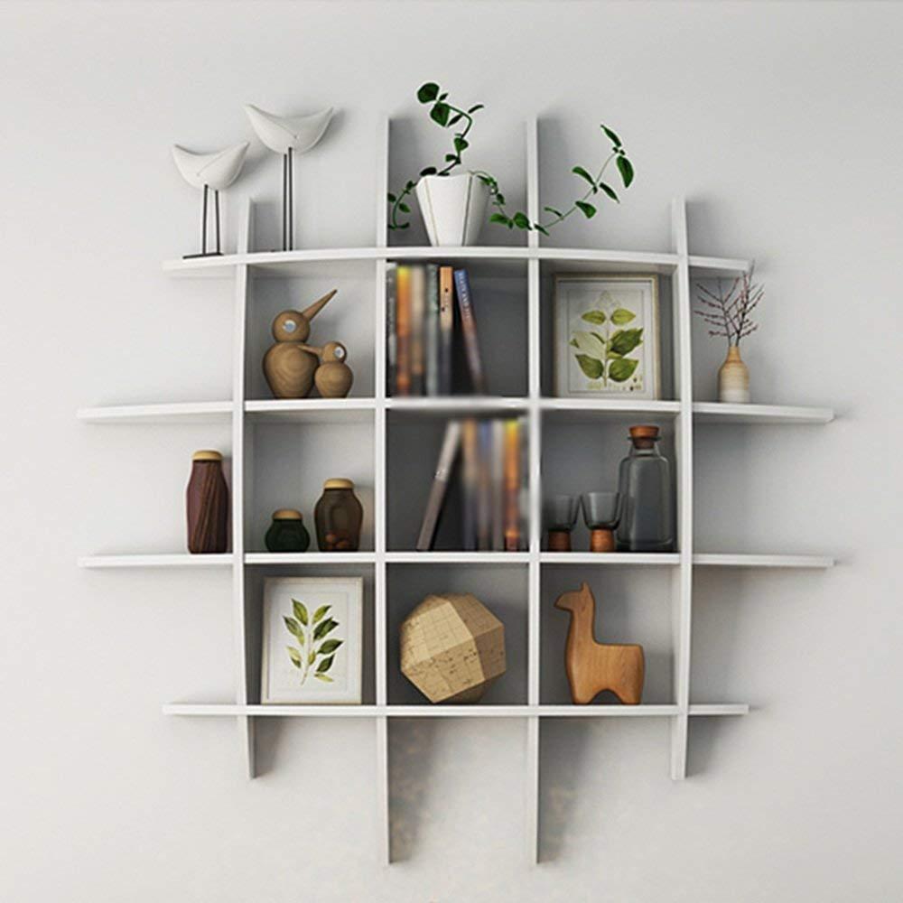 YUEQISONG Shelf Jiugongge Solid Wood Black White White Walnut Color Black Walnut Color Cherry Color Partition Storage Rack Living Room, 12012016(deep) cm, White