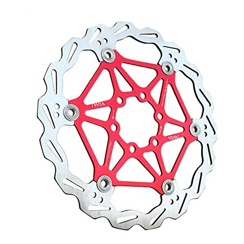 TTShonf Cycling Accessories, 160/180/203mm MTB Road Bike Stainless Steel Aluminum Metal Float Floating Hydraulic Disc Brake Rotors Bicycle Parts Red 180mm