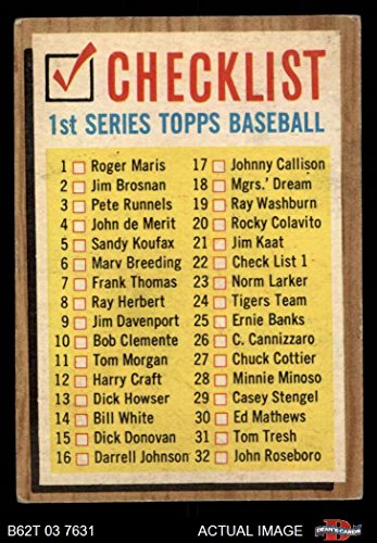 1962 Topps # 22 ERR Checklist 1 (Baseball Card) (Lists Cards 121 to 176 on the Back) Dean's Cards 2 - GOOD