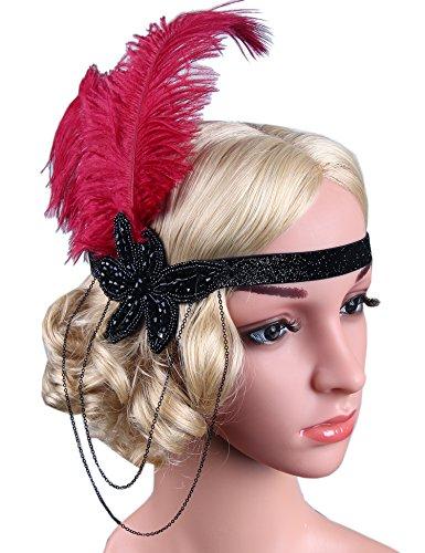 Flapper Girl Red Feather Flapper Headpiece 1920s Gatsby Headbands Accessories Costume (Black+Red) (Flapper Girls 1920)