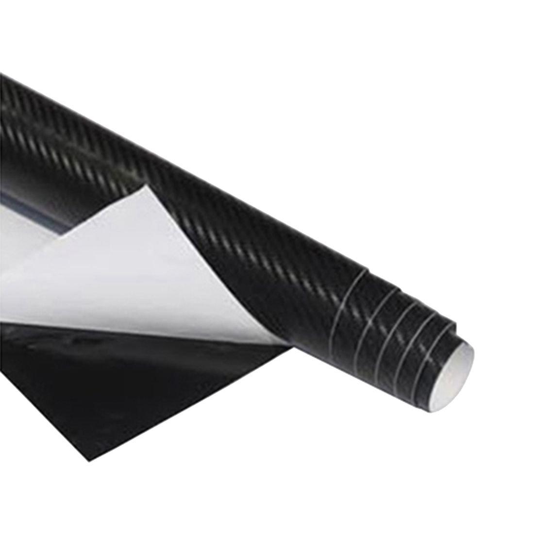 Car Vehicle DIY 3D Carbon Fiber Vinyl Wrap Roll Film Sticker Decal 70x10cm wine red R SODIAL