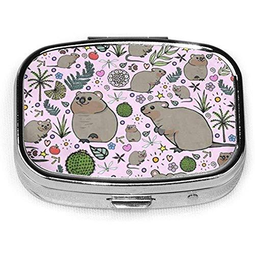 Caja de pastillas cuadrada de moda personalizada para fiestas de Quokka, soporte para tableta, monedero de bolsillo, caja organizadora, caja de decorac