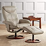 Newport Taupe Swivel Recliner and Slanted Ottoman - BenchMaster