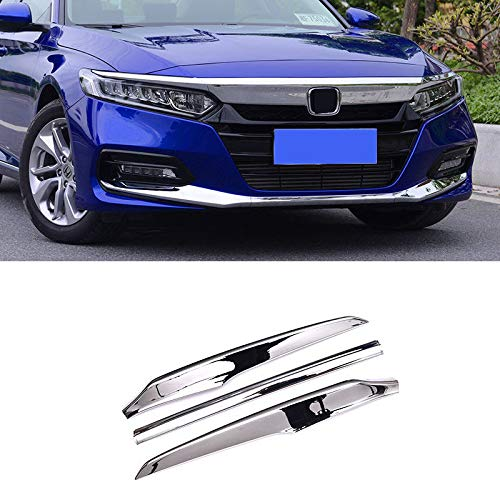 (ABS Chrome Exterior Accessories Front Bumper Decoration Cover Trim Trims 3PCS Fit for Honda Accord 2018 2019)