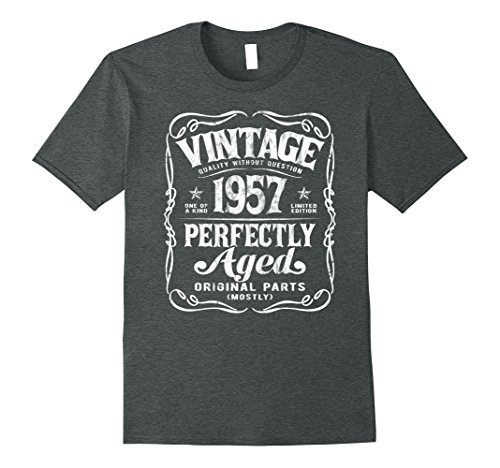 Mens Vintage Made In 1957 T-Shirt 60th Birthday Gift Large Dark Heather