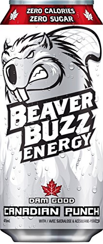 Beaver Buzz (WHITE Can) CANADIAN PUNCH (Zero-Calorie, Zero-Sugar) Energy Drink - 16oz x 12pk