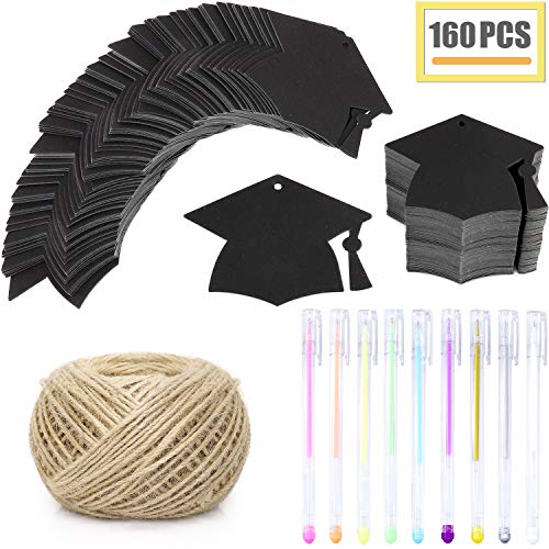 - WooKun 150 Pcs Black Graduation Season Gift Tag with Black Bachelor Hat Gift Tags Holes Favor Tags Hang Label Tags with 109 Yards Natural Jute Twine for Gift Wrapping (Black)