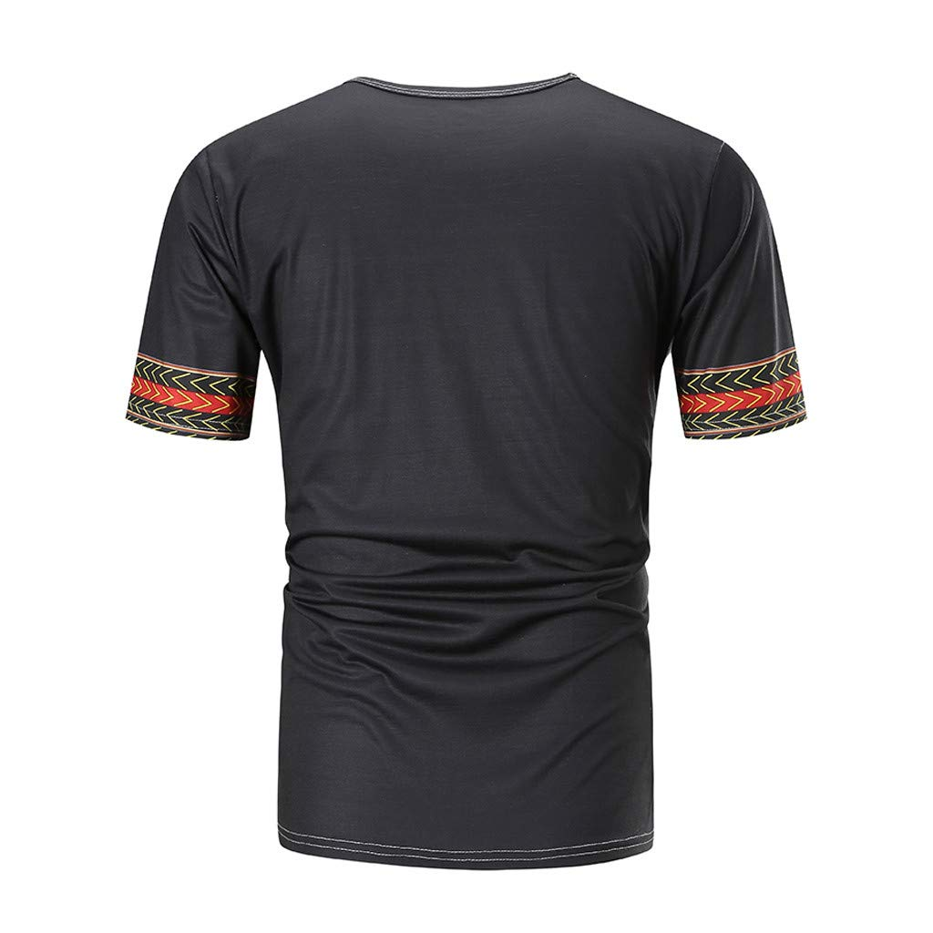 Sleeve T-Shirt African Print V Neck Basic Tee Topgee Men Casual Slim Fit Short