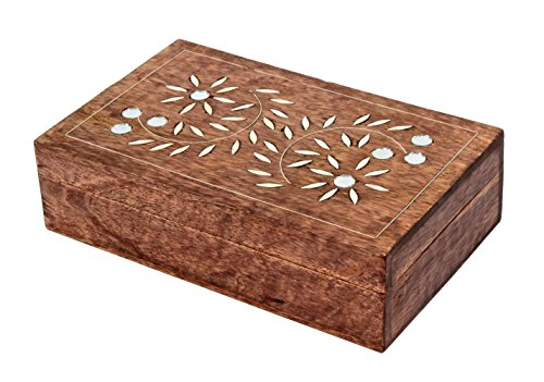 New Year Gifts Decorative Mirror Inlaid Wooden Jewelry Keepsake Box Multipurpose Handcrafted Storage Organizer Gifts (Hardwood Box With Lid compare prices)