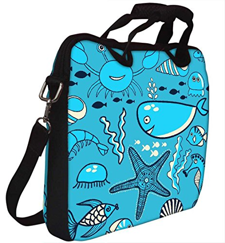 Snoogg Neon Fisch Wasser Farbe 30,5cm 30,7cm 31,8cm Zoll Laptop Notebook Computer Schultertasche Messenger-Tasche Griff Tasche mit weichem Tragegriff abnehmbarer Schultergurt für Laptop Tablet PC U