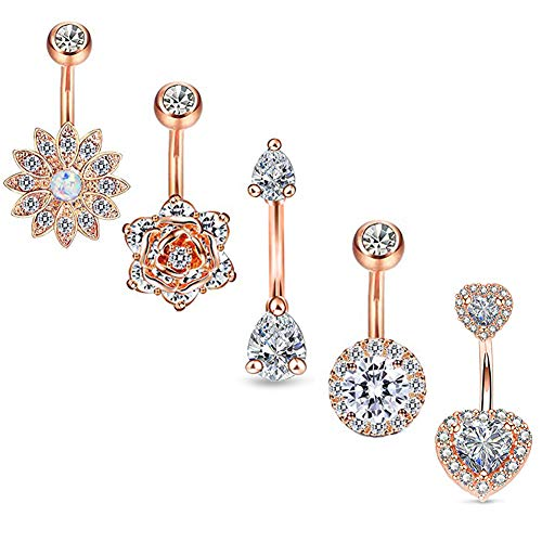 (Longbeauty 5Pcs CZ Flower Belly Button Ring Barbell Crystal Heart Navel Rings Bar for Women Piercing 14G Stainless Steel)