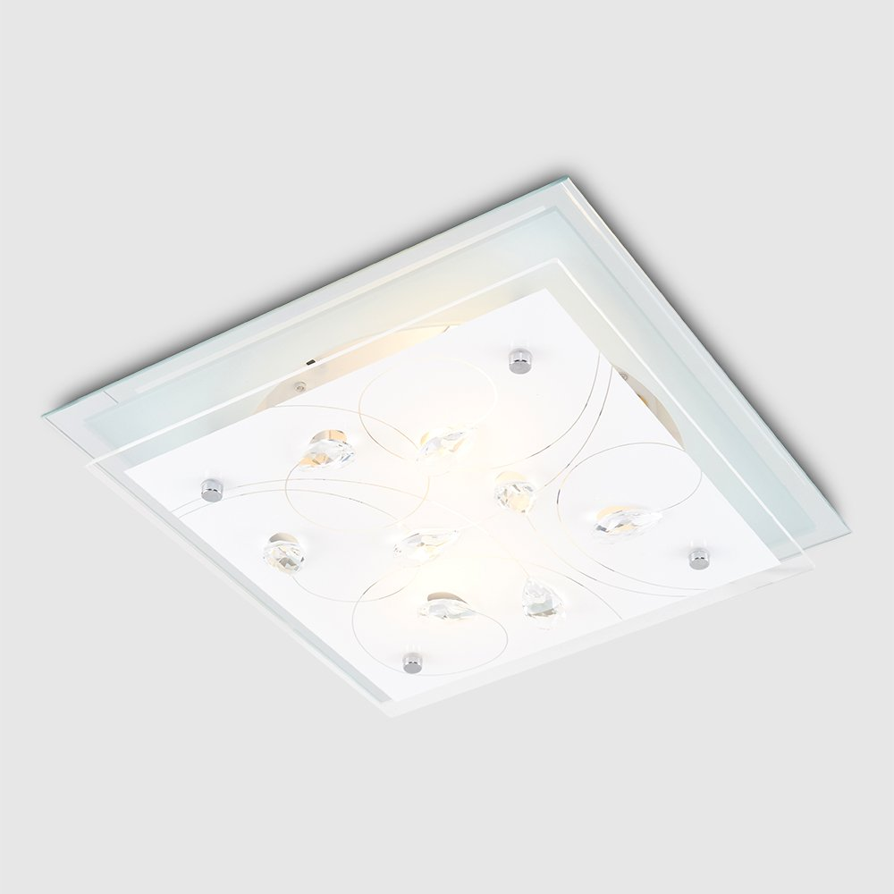 Modern chrome genuine k5 clear lead crystal square flush ceiling light fitting