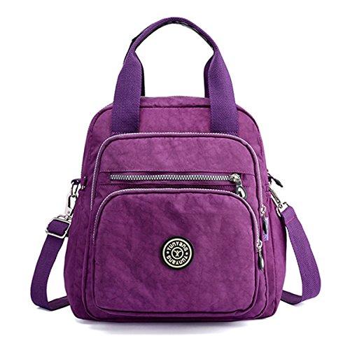 Women Backpack,E Ekphero Lightweight Nylon Multi Function Shoulder Bag Crossbody Purse Tote-Handbag Mummy Women Bag purpple large by CHARMINER
