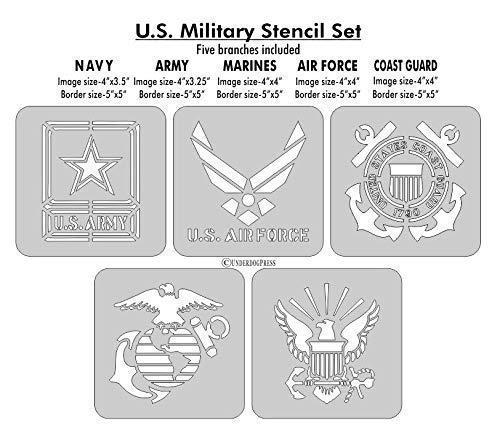 Stencils- U.S. Military Set of 5, Coast Guard, Navy, Air force, Army, Marines. 4 Inch Image on 5x5 Border, Size 2 (Coast Craft)