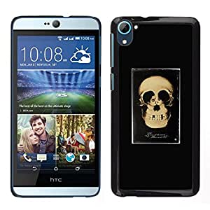 // PHONE CASE GIFT // Duro Estuche protector PC Cáscara Plástico Carcasa Funda Hard Protective Case for HTC Desire D826 / Retro Skull Love Couple Black Poster /