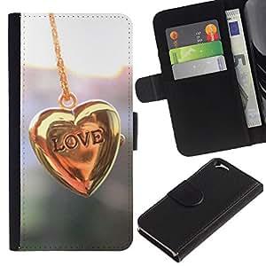 KingStore / Leather Etui en cuir / Apple Iphone 6 / Cadena Corazón de Oro Pastel Brillante