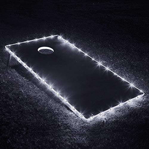 Cornhole Boards Lights, Cornhole Edge Lights for Cornhole Bags, Bean Bags, Ring Toss Games, Tailgate Games,Yard Games-White ()