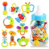 YeahiBaby 9pcs Baby's First Rattle and Teether Toy with Giant Milk Bottle Grasp Christmas Gift Toy (Random Color)