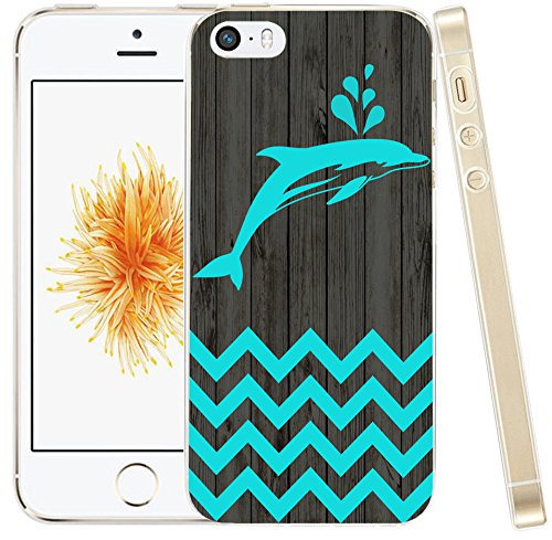 (SE Case Dolphin,Hungo Soft TPU Silicone Protective Cover Case Compatible with iPhone SE/5S/5 Chevron Dolphin Animal Theme Pattern)