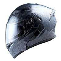 1Storm Motorcycle Modular Full Face Helmet Flip up Dual Visor Sun Shield: HB89 Carbon Fiber Black by Power Gear Motorsports