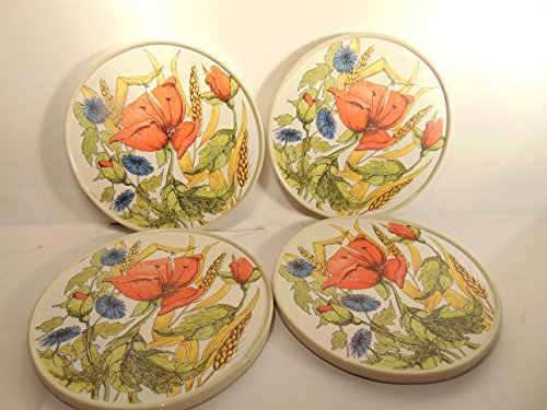 TVI Wiveliscombe Somerset Vintage set of 4 Melamine Trivets, Cornfield Collection Design ()