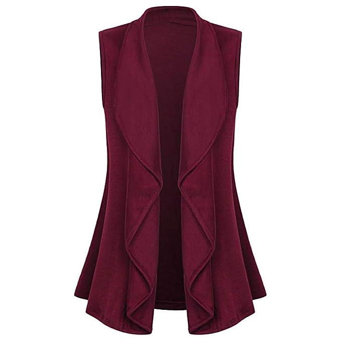 Amazon.com: Women Sleeveless Vest Coat Cape Shawl Ruffles Draped Open Cardigan Long Jacket: Clothing