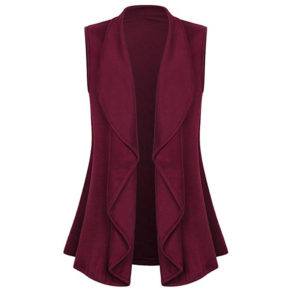 LINSINCH Womens Tops Casual Sleeveless Cape Shawl Ruffles Draped Open Front Cardigan Vest Coat