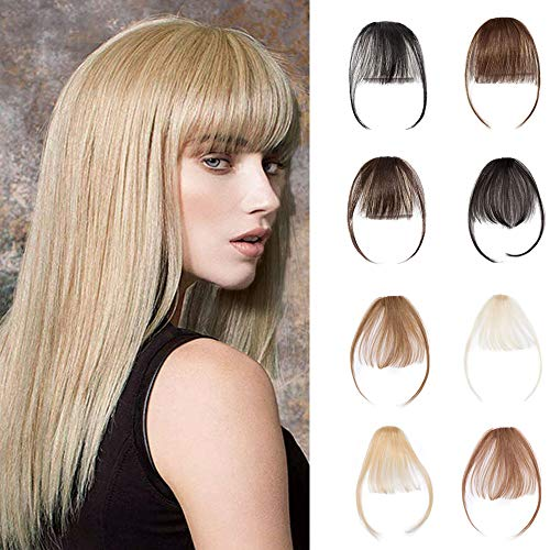 Clip In Air Bangs 100% Remy Human Hair Extensions One Piece front Neat Air Fringe Hand Tied Straight Flat Bangs Clip On Hairpiece With Temples For Women #60 Platinum Blonde 3g