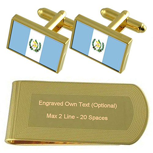 Clip Flag Set Guatemala Cufflinks Gold Engraved tone Gift Money n4PPFqx