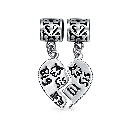 Bling Jewelry Sterling Silver Big Sis Little Sis Heart Dangle Bead Fits Pandora