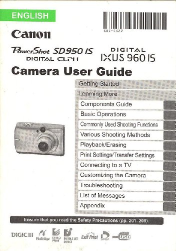 Canon Powershot SD950 IS Digital Elph/Canon IXUS 960 IS Original User Guide/Instruction -