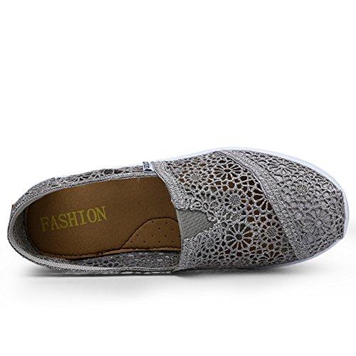 Scarpa In Slip Aumento Platform Fitness Tennis Shoes Della Mesh Donna Mljsh Toning Altezza Crochet Grigio Da on Allenamento Con pant4