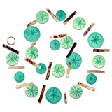 The Beach Chic Garland Swag, 6 Ft Long, Shades of Blue Translucent Turquoise Roundels, Patterned Mother of Pearl Shells, Star Pattern, Brown Spacers, Transparent Cord, Silver Metal Ring, By WHW
