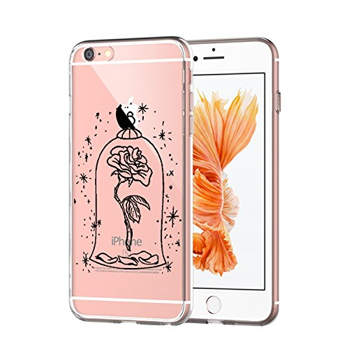 Vanki® iPhone 6/6S Funda, Protectiva Carcasa de Silicona de gel TPU Transparente, Ultra delgada, , Amortigua los golpes Case Cover Para iPhone 6/6S-Patrón en blanco y negro B