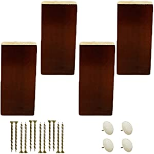 APAN 4pcs Squared Sofa Replace Feet,Solid Wood Furniture Replacement Leg,Wooden Kitchen Cabinet Feet,for Loveseat Chair Ottoman Bed TV Dresser Armchair Recliner Coffee Table,with Screws(Walnut10cm)