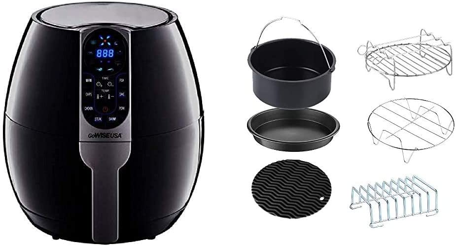 GoWISE USA 3.7-Quart Programmable Air Fryer with 8 Cook Presets, GW22638 - Black & Standard 6-Piece Air Fryer Accessory Kit for 2.75-3.7 Quarts, Small, Universal