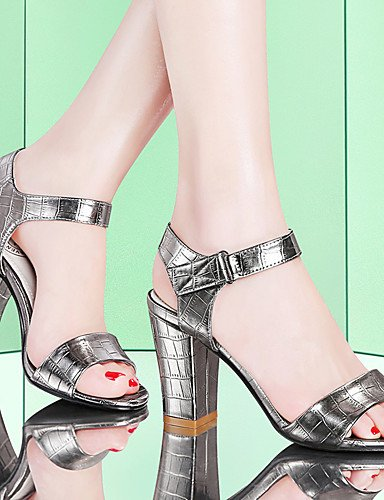LFNLYX Zapatos de mujer-Tacón Robusto-Punta Abierta-Sandalias-Boda / Oficina y Trabajo / Vestido / Casual / Fiesta y Noche-Sintético-Negro / Silver